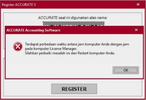 error saat registrasi accurate 5